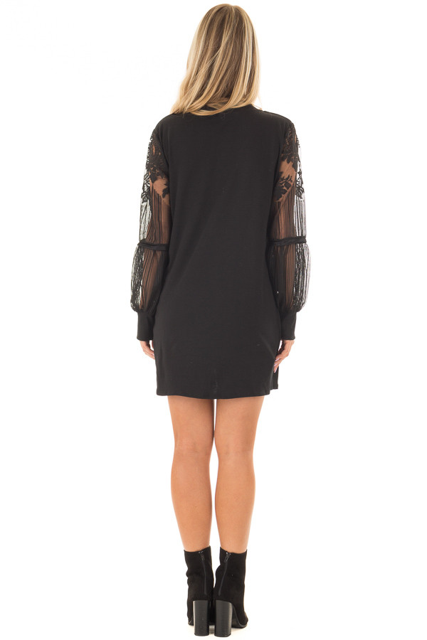 Black Dress with Sheer Lace Bubble Sleeves back full body