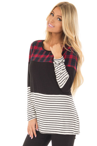 Black Striped and Plaid Color Block Long Sleeve Top front closeup