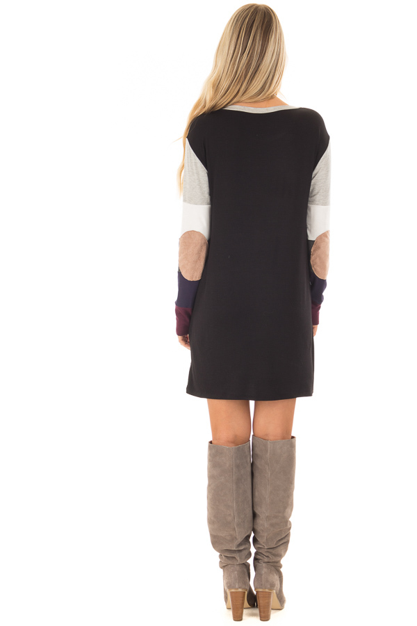 Multi Color Block Long Sleeve Top with Elbow Patches back full body