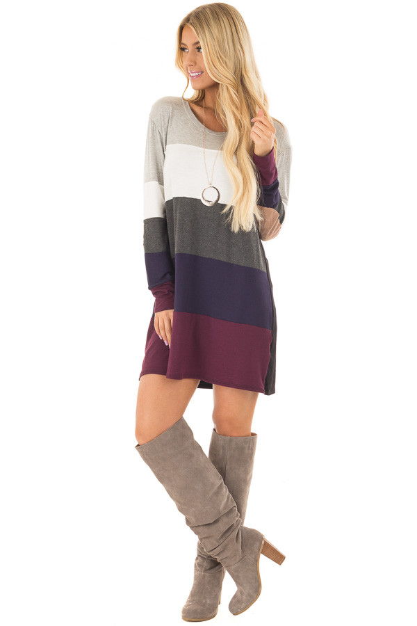 Multi Color Block Long Sleeve Top with Elbow Patches front full body