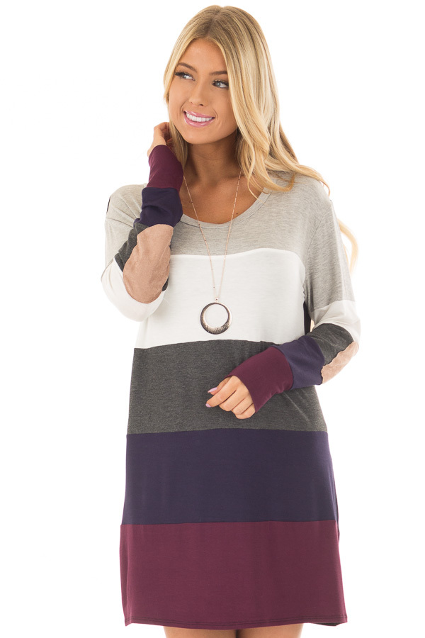Multi Color Block Long Sleeve Top with Elbow Patches front closeup