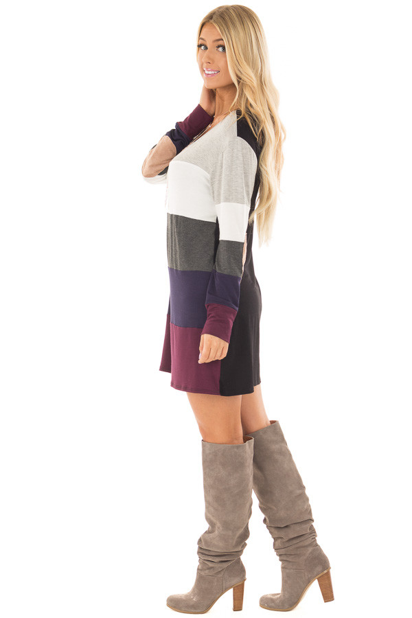 Multi Color Block Long Sleeve Top with Elbow Patches side full body