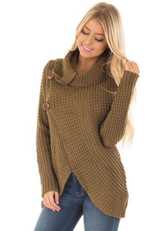 Olive Cowl Neck Sweater with Strap and Button Detail front closeup