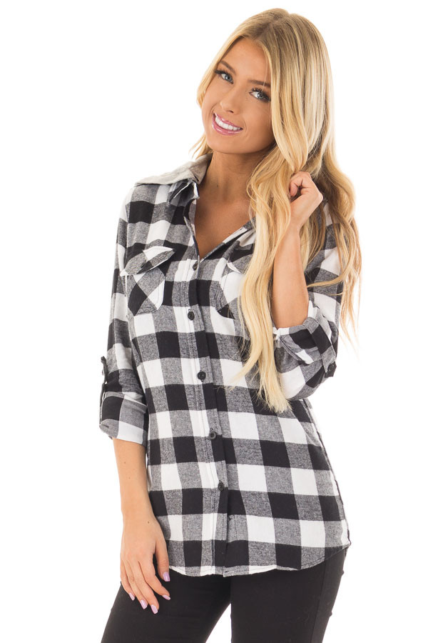 Black and White Plaid Button Down with Grey Hood front closeup