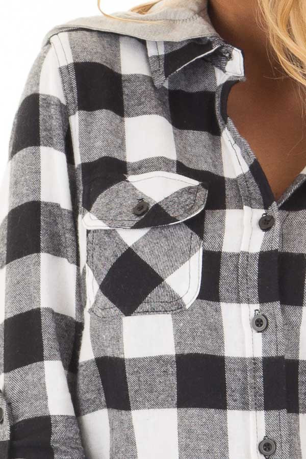 Black and White Plaid Button Down with Grey Hood front detail