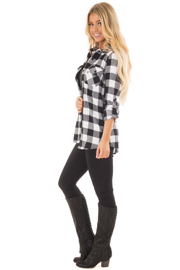 Black and White Plaid Button Down with Grey Hood side full body