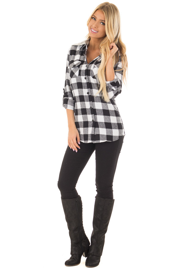 Black and White Plaid Button Down with Grey Hood front full body