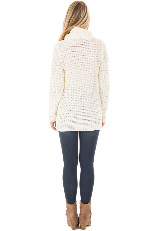 Ivory Cowl Neck Sweater with Strap and Button Detail - Lime Lush ...