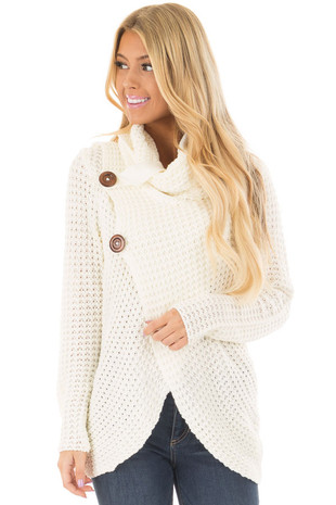 Ivory Cowl Neck Sweater with Strap and Button Detail front closeup