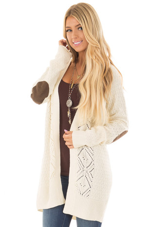 Ivory Detailed Cardigan with Chocolate Elbow Patches front closeup