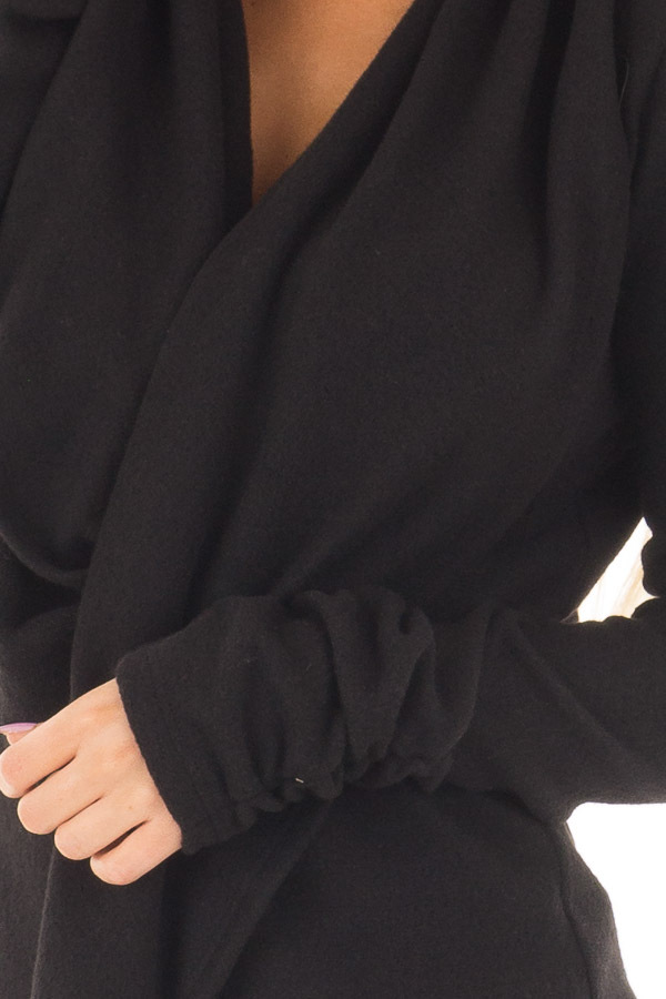 Black Long Sleeve Top with Built In Scarf front detail