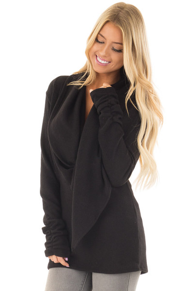 Black Long Sleeve Top with Built In Scarf front closeup