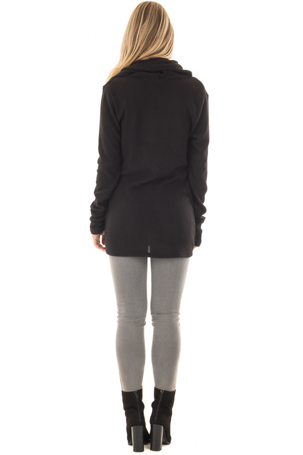 Black Long Sleeve Top with Built In Scarf back full body