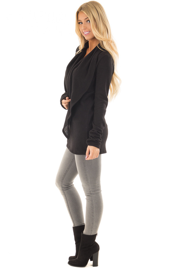Black Long Sleeve Top with Built In Scarf side full body