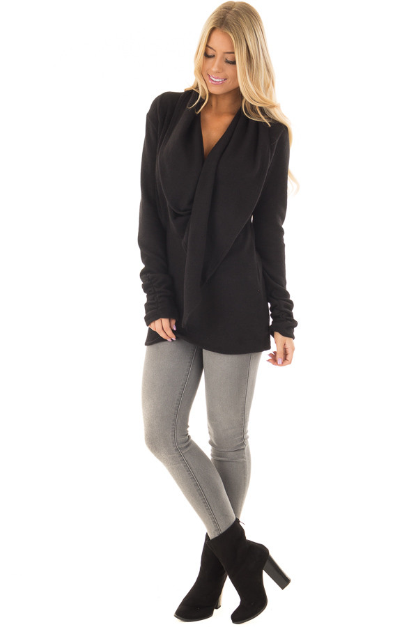Black Long Sleeve Top with Built In Scarf front full body