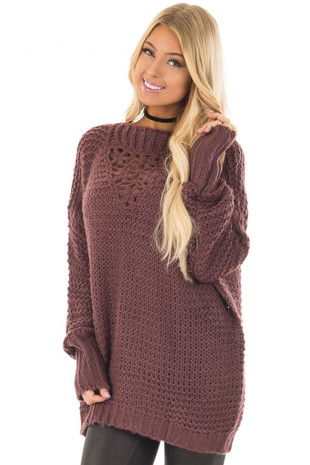 Plum Thick Knit Sweater with Crochet Flower Neckline front closeup