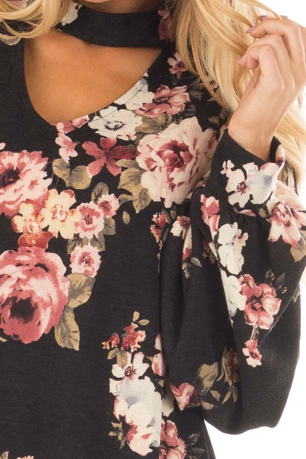Black Floral Bubble Sleeve Sweater with Cut Out Neckline front detail