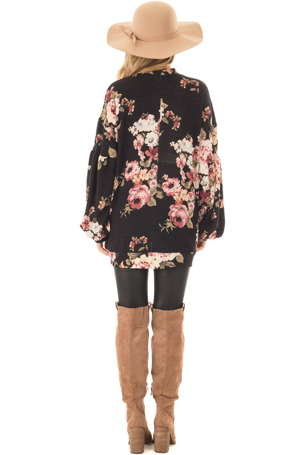 Black Floral Bubble Sleeve Sweater with Cut Out Neckline back full body