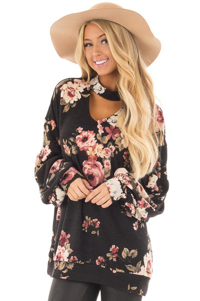 Black Floral Bubble Sleeve Sweater with Cut Out Neckline front closeup