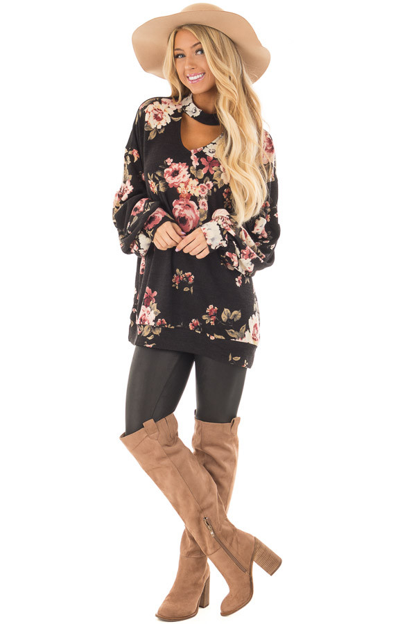 Black Floral Bubble Sleeve Sweater with Cut Out Neckline front full body