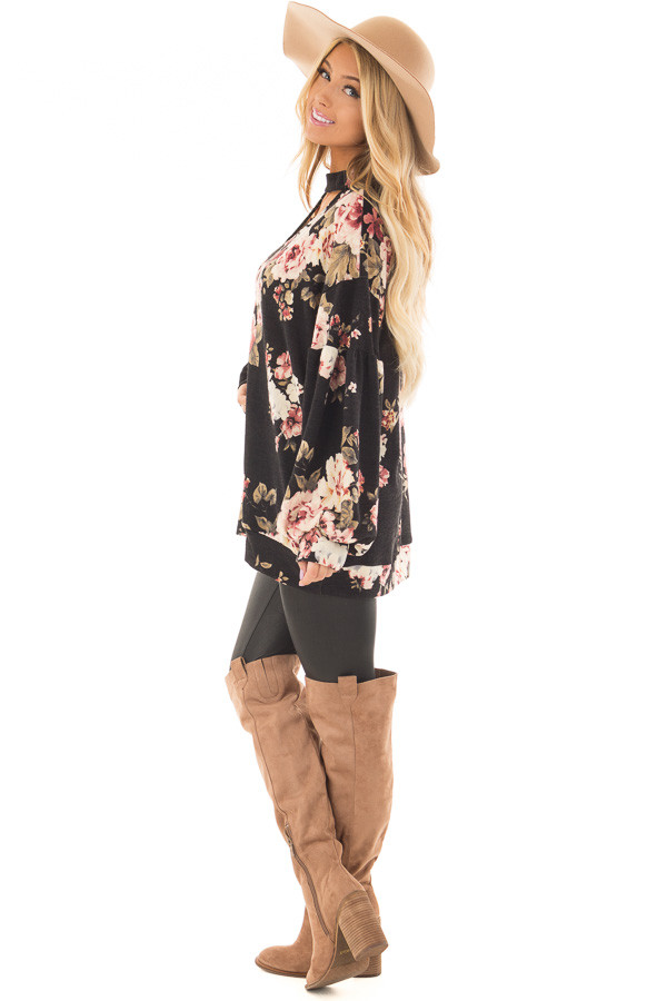 Black Floral Bubble Sleeve Sweater with Cut Out Neckline side full body