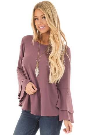 Orchid Top with Layered Bell Sleeves front closeup