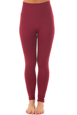 Burgundy High Waist Fleece Leggings front
