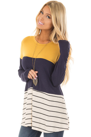 Mustard and Navy Color Block Top with Striped Contrast front closeup