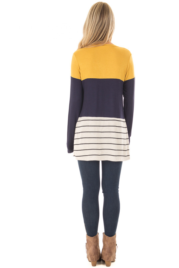 Mustard and Navy Color Block Top with Striped Contrast back full body