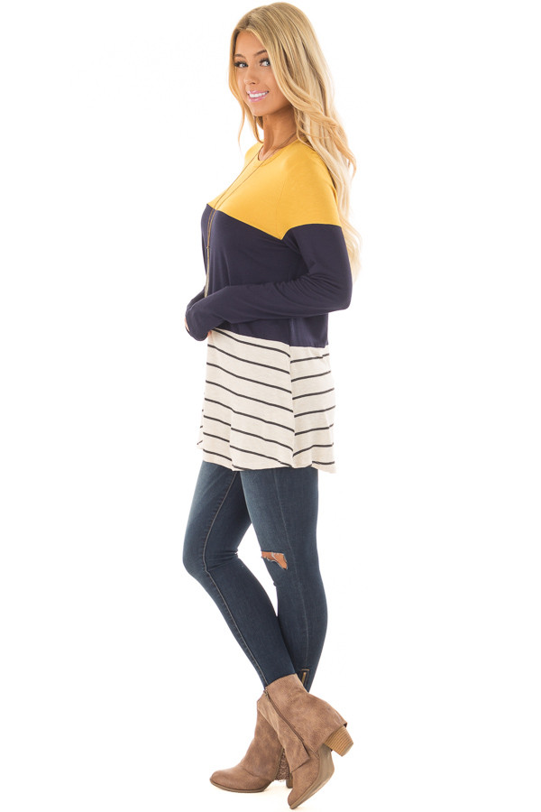 Mustard and Navy Color Block Top with Striped Contrast side full body