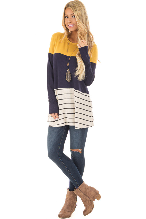 Mustard and Navy Color Block Top with Striped Contrast front full body