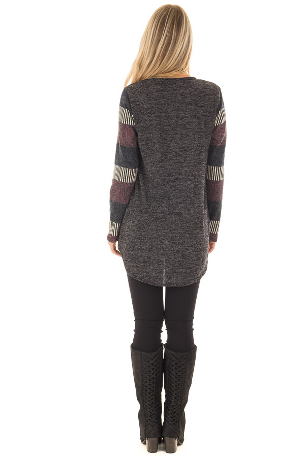 Black Two Tone Top with Striped Long Sleeves and Pocket back full body