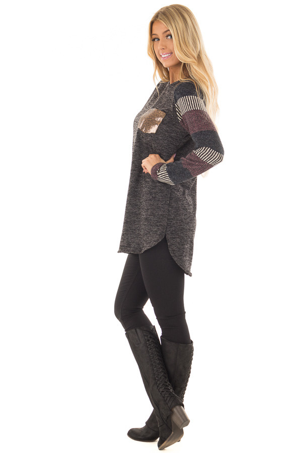 Black Two Tone Top with Striped Long Sleeves and Pocket side full body
