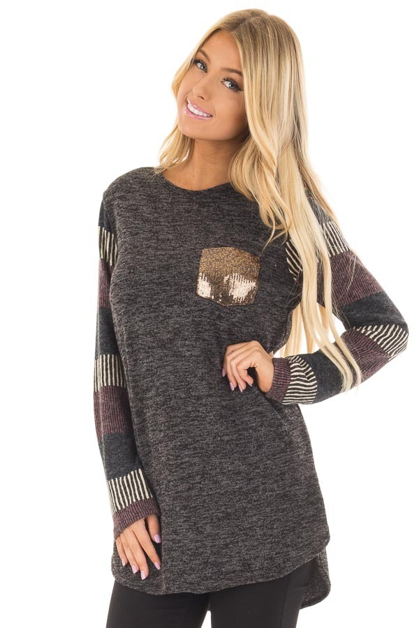 Black Two Tone Top with Striped Long Sleeves and Pocket front closeup