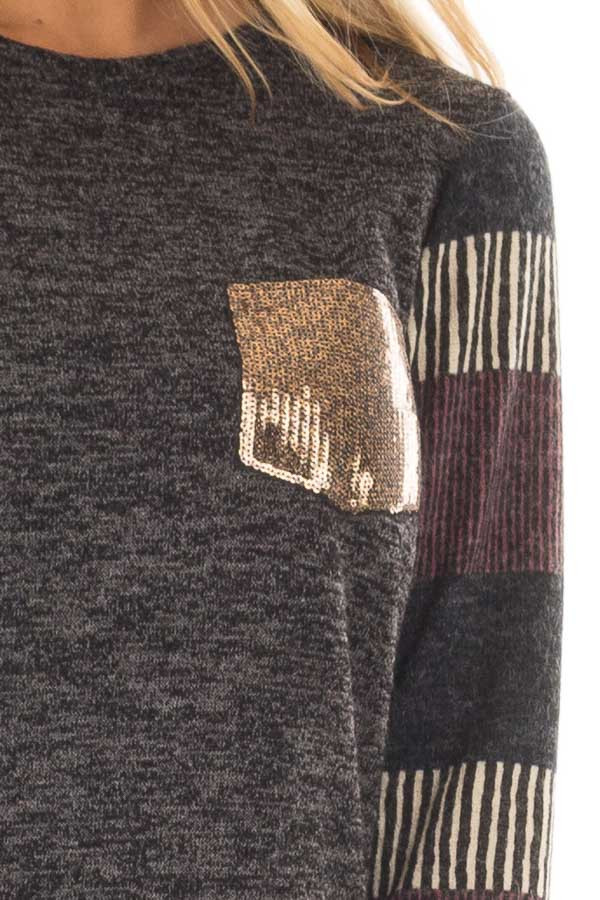 Black Two Tone Top with Striped Long Sleeves and Pocket front detail