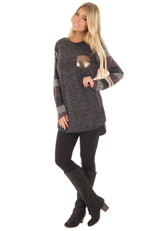 Black Two Tone Top with Striped Long Sleeves and Pocket front full body