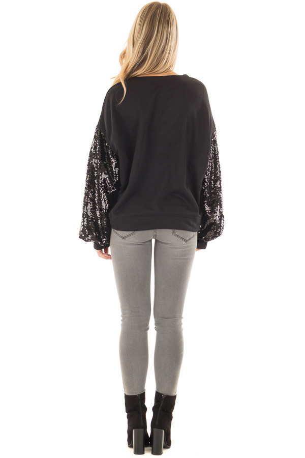 Black Sweater with Black Sequin Bubble Sleeves back full body