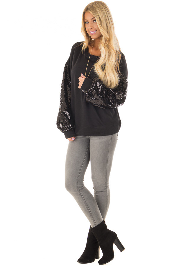 Black Sweater with Black Sequin Bubble Sleeves front full body