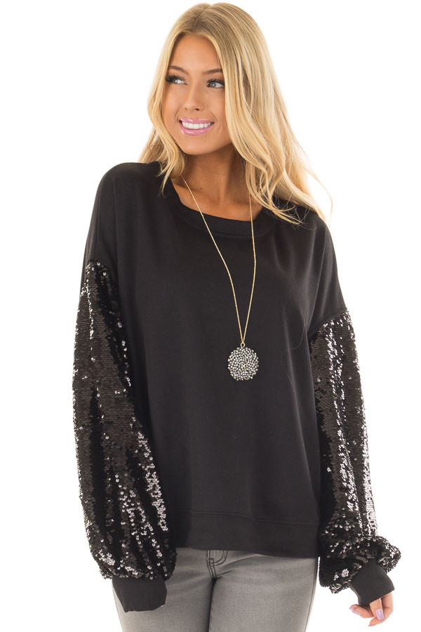 Black Sweater with Black Sequin Bubble Sleeves front closeup