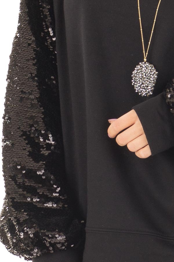 Black Sweater with Black Sequin Bubble Sleeves front detail