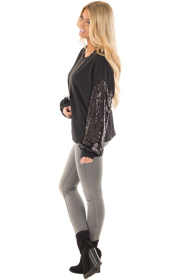Black Sweater with Black Sequin Bubble Sleeves side full body