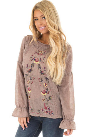 Mocha Top with Floral Embroidery and Crochet Details front closeup
