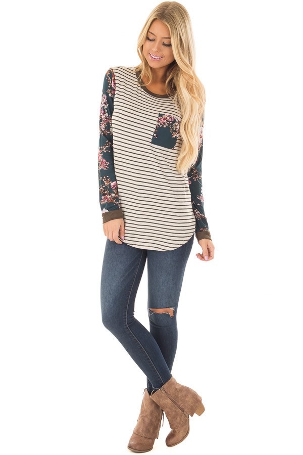 Cream Striped Long Sleeve Top with Floral Detail with Pocket front full body