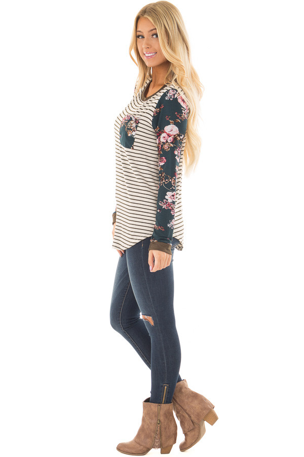 Cream Striped Long Sleeve Top with Floral Detail with Pocket side full body