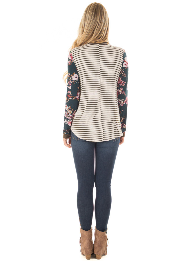 Cream Striped Long Sleeve Top with Floral Detail with Pocket back full body
