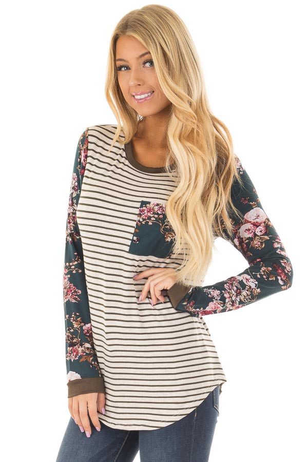 Cream Striped Long Sleeve Top with Floral Detail with Pocket front closeup