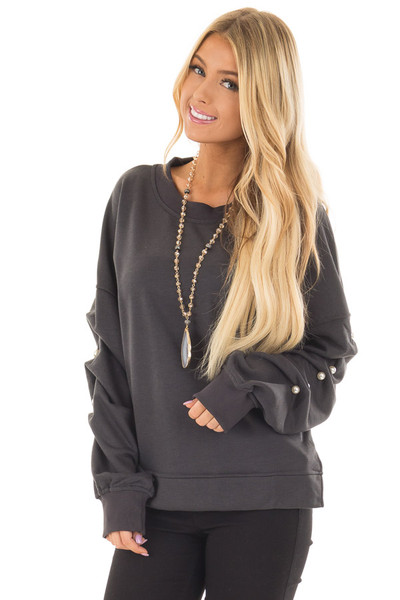 Charcoal Sweater with Pearl Detailed Sleeves front closeup
