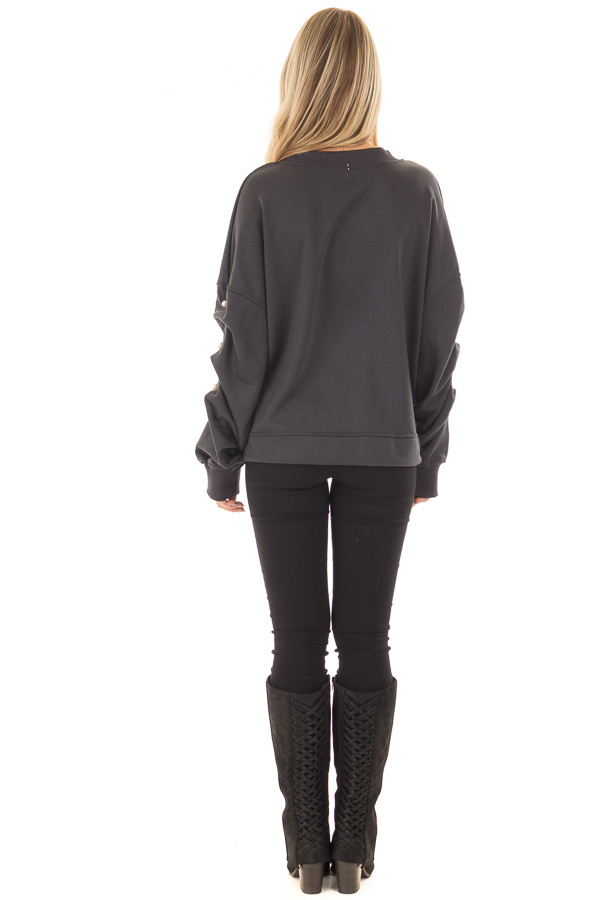 Charcoal Sweater with Pearl Detailed Sleeves back full body