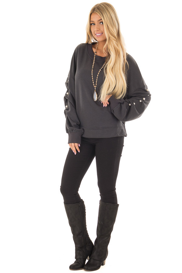 Charcoal Sweater with Pearl Detailed Sleeves front full body