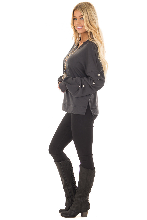 Charcoal Sweater with Pearl Detailed Sleeves side full body
